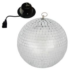 QTX 30cm Glass Mirror Ball Mirrorball + Motor DJ Disco Light Beam Lighting 2.3kg